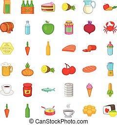 alimentación, iconos, conjunto, caricatura, estilo