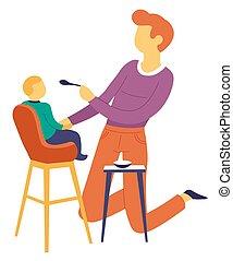 alimentación, padre, hijo, alto, paternidad, niño, silla