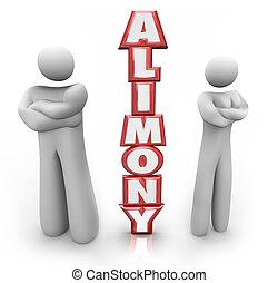 alimentatie, 3d, woord, gescheiden, paar, ex, echtgenoot,...