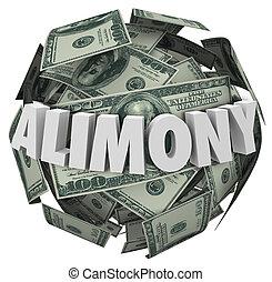 alimentatie, woord, 3d, geld, bal, financieel, verplichting,...