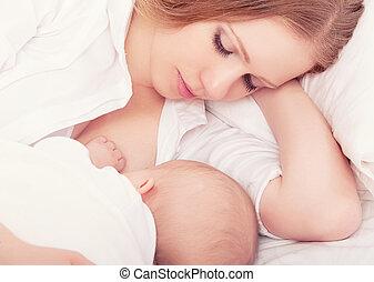 alimentation, elle, bed., ensemble, dormir, mère, bébé