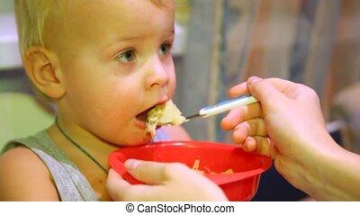 alimentation, elle, dîner, mère, bébé, agréable