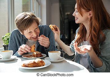alimentation, girl, essayer, elle, petit ami