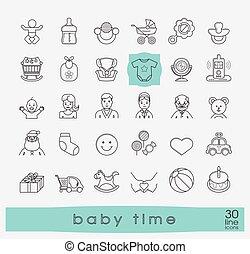 alimentation, icônes, parenting., bébé, ensemble, année, soin, play., ligne, premier