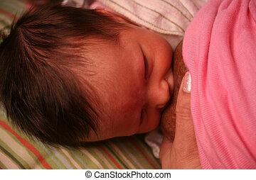 alimentation, jeune, nouveau né, mamelon, poitrine, bébé