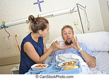 alimentation, sien, salle, épouse, hôpital, après, jeune, lit, souffrance, accident, mari, essayer, malade, mensonge, peu disposé