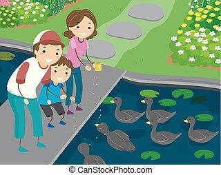 alimentation, stickman, famille, illustration, canards, gosse