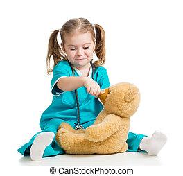 alimentation, teddy, sur, docteur, ours, cuillère, girl, adorable, blanc, vêtements