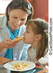 alimentazione, figlia, madre