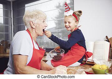alimentazione, lei, nonna, frutta, secco, ragazza