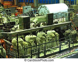 alimentez générateur, canaux transmission, scène, machinerie, nuit, pendant, turbine, tubes, vapeur, réparation, plante