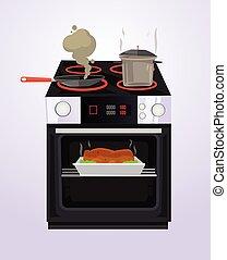 alimento, é, cozinhado, ligado, a, stove., vetorial, apartamento, caricatura, ilustração