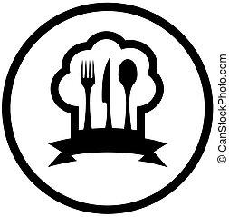alimento, ícone, com, chapéu cozinheiro, e, utensílio cozinha
