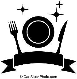 alimento, ícone, com, prato, e, utensílio cozinha