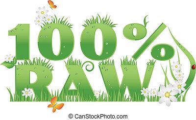 alimento, 100%, verde, crudo