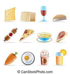 alimento, 2, bebida, tienda, iconos