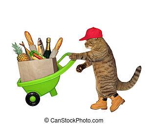 alimento, 2, carretilla, gato