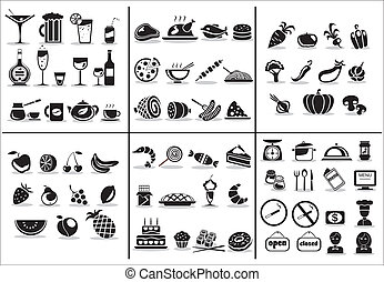 alimento, 77, jogo, bebida, ícones