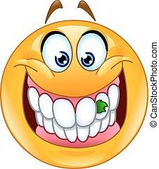 alimento, aderido, em, dentes, emoticon