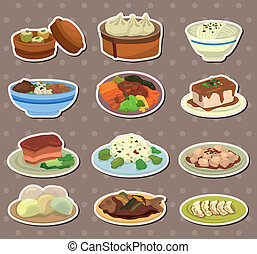alimento, adesivos, caricatura, chinês