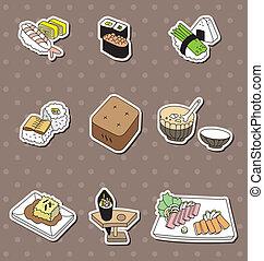 alimento, adesivos, caricatura, japoneses