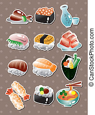 alimento, adesivos, japoneses