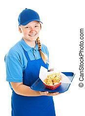 alimento, adolescente, trabalhador, rapidamente