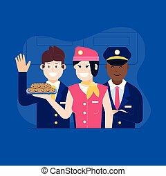 alimento, aeronave, stewardess, oferecendo, tripulação