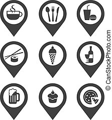 alimento, alfileres, bebida, cartografía, icono