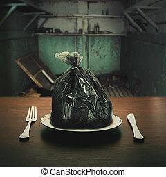 alimento, algunos, basura, paquete