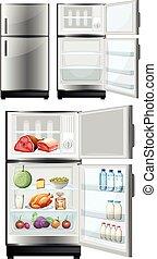 alimento, almacenamiento, refrigerador