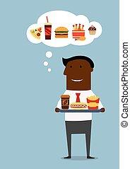 alimento, almoço, americano, rapidamente, homem negócios