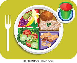 alimento, almuerzo, mi, vegetariano, placa