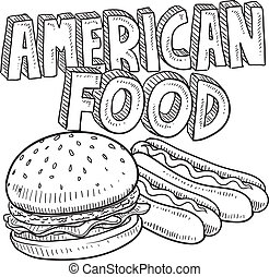 alimento, americano, esboço