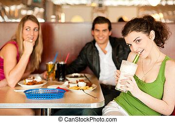 alimento, amigos, comer, rapidamente, restaurante