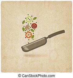 alimento, antigas, panela, fundo