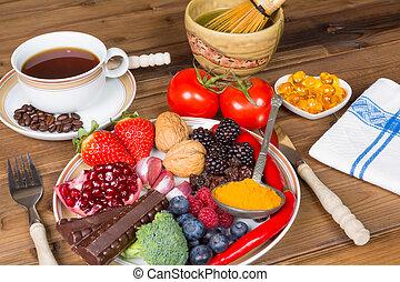 alimento, antioxidante, bebidas