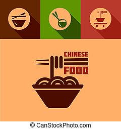 alimento, apartamento, chinês, ícones