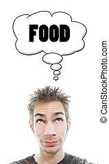 alimento, aproximadamente, homem, pensa, jovem