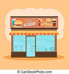 alimento, armazenar parte dianteira, vista