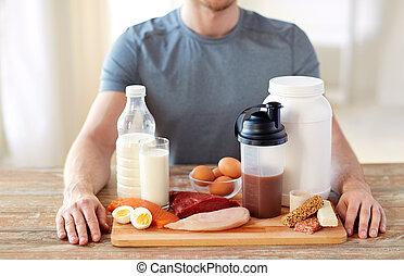 alimento, Arriba, rico, cierre, tabla, proteína, hombre
