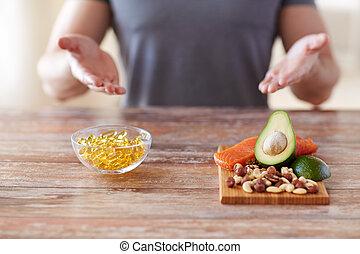 alimento, Arriba, rico, Manos, cierre, proteína, macho