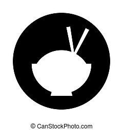 alimento, arroz, chinês, ícone