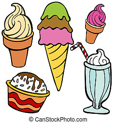 alimento, artículos, helado