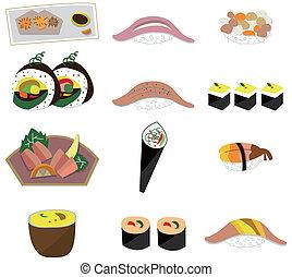 alimento, artoon, jogo, japoneses, ícone