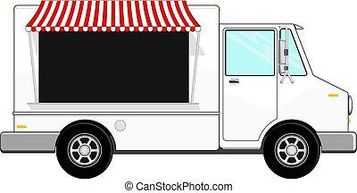 alimento, autocarro, vetorial, negócio