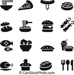 alimento, básico, conjunto, bebida, iconos
