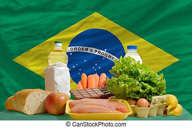 alimento básico, mantimentos, frente, brasil, bandeira nacional
