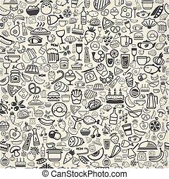 alimento, backround, seamless, ícones