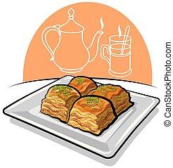 alimento, baklava, oriental